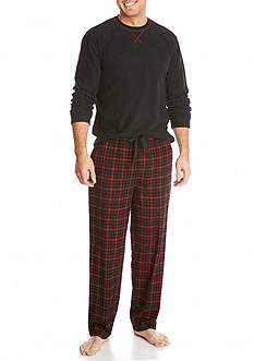 IZOD Yarn Dyed Flannel Lounge Pants & Micro-Fleece Crew Shirt Box Set