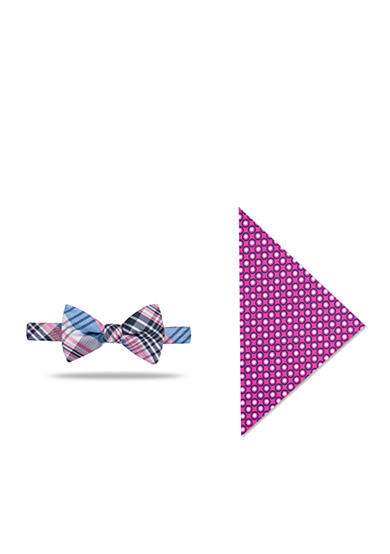 Saddlebred® Pre-Tied Plaid Bow Tie Pocket Square Box Set