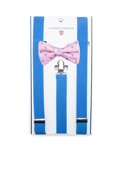 Saddlebred® Pre-Tied Reef Dot Bow Tie & Suspender Boxed Set