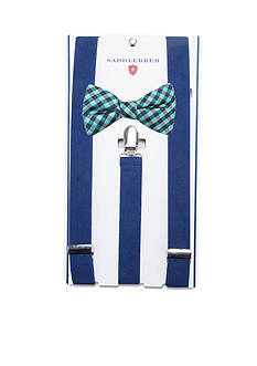 Saddlebred Pre-Tied Razee Check Bow Tie & Suspender Boxed Set