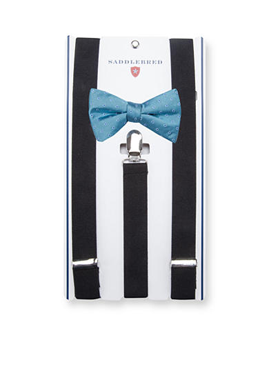 Saddlebred® Pre-Tied Island Dot Bow Tie & Suspender Boxed Set