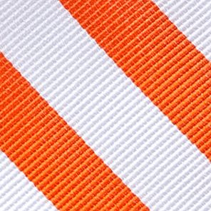 Young Men: Neckties Sale: White/Orange Saddlebred College Rubgy Stripe Tie