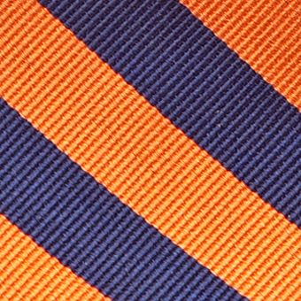 Men: All Neckties Sale: Ornage/Navy Saddlebred College Rubgy Stripe Tie