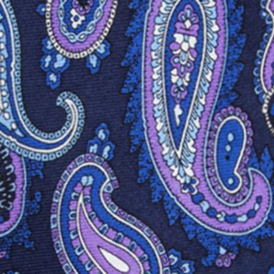 Young Men: Neckties Sale: Navy Saddlebred Samoa Paisley Tie