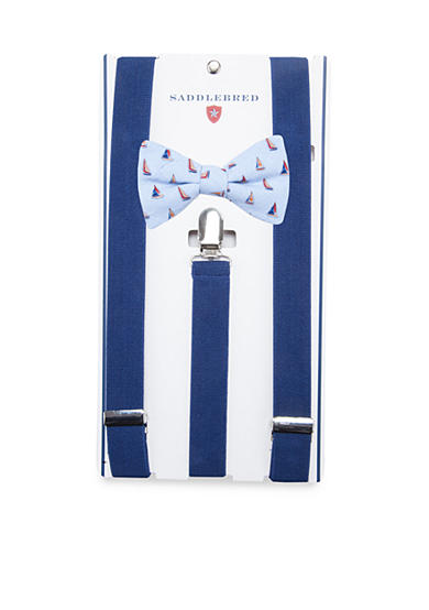 Saddlebred® Pre-Tied Gusty Sailboat Bow Tie & Suspender Boxed Set