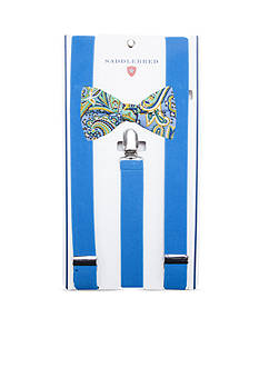Saddlebred Pre-Tied Ray Paisley Bow Tie & Suspender Boxed Set