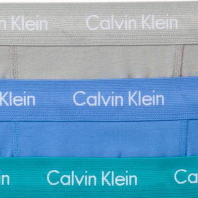 Mens Designer Underwear: Blue/Teal/Gray Calvin Klein Cotton Stretch Boxer Briefs - 3 Pack