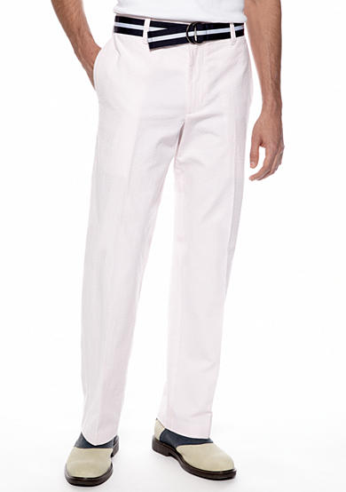 IZOD Straight Fit Belted Seersucker Pants