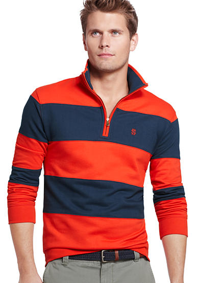IZOD French Terry Stripe Mock Pullover