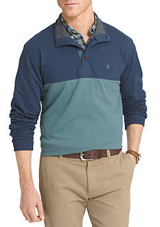 IZOD Color Block 1/4 Button Mock Neck Shirt