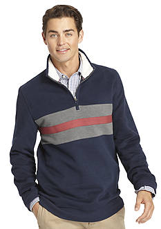IZOD 1/4 Zip Chest Stripe Fleece