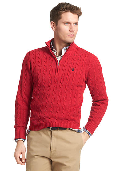 IZOD Quarter-Zip Cable Knit Sweater