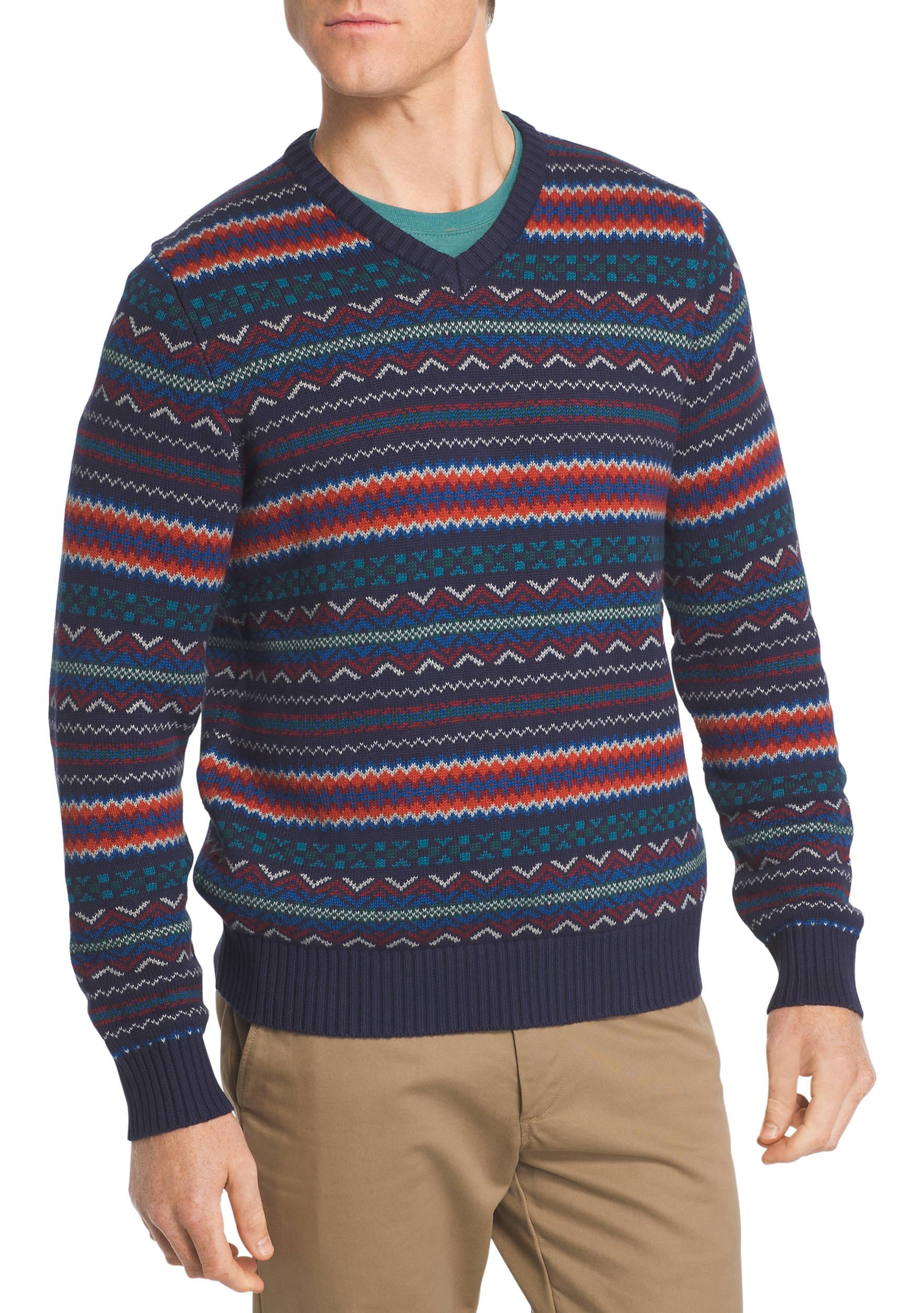 IZOD Fair Isle V-Neck Sweater | belk