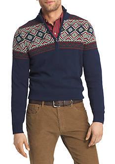 IZOD Long Sleeve Fair Isle 1/4 Zip Sweater
