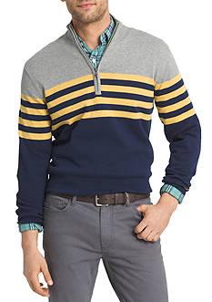 IZOD Stripe 1/4 Zip Fieldhouse Sweater