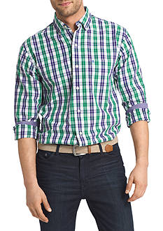 IZOD Long Sleeve Plaid Durham Poplin Button down Shirt