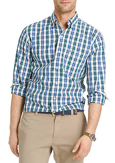 IZOD Long Sleeve Plaid Durham Poplin Button down Shirt