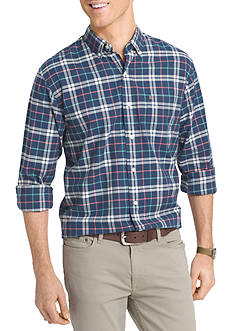 IZOD Newport Oxford Plaid Long Sleeve Woven Shirt