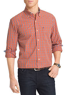 IZOD Long Sleeve Durham Poplin Button Down Shirt