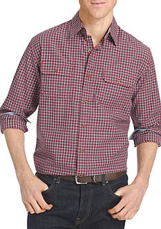 IZOD Long Sleeve Small Check Woven Shirt