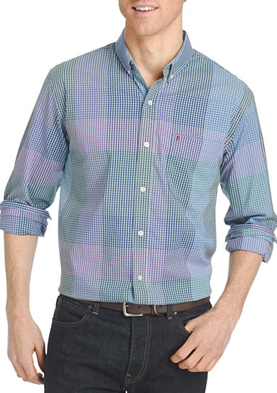 Izod long sleeve advantage plaid button down shirt belk for Izod button down shirts