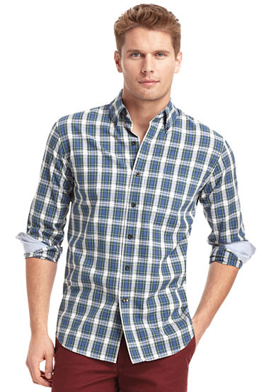 IZOD Optical Tartan Plaid Button Down Shirt