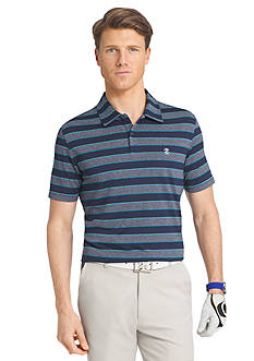 IZOD Short Sleeve Caddie Stripe Heather Jersey Polo Shirt