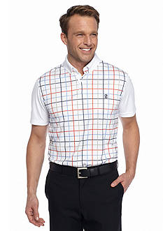 IZOD Golf Short Sleeve Preppy Tattersall Polo Shirt