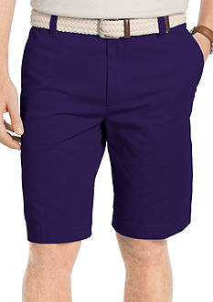IZOD Flat Front Washed Chino Shorts