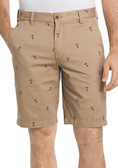 IZOD Flat Front Anchor Print Shorts