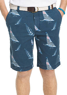 IZOD Flat Front Sailboat Print Shorts