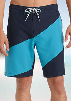 IZOD Diagonal Colorblock Board Shorts