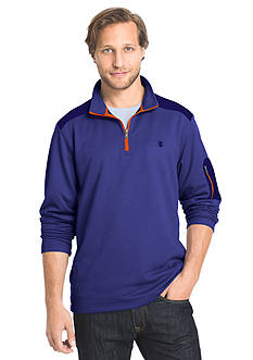 IZOD Long Sleeve French Terry Colorblock Quarter Zip Sweater