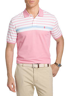 IZOD Advantage Short Sleeve Colorblock Stripe Polo Shirt