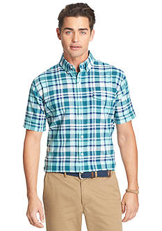 IZOD Short Sleeve Large Plaid Button Down