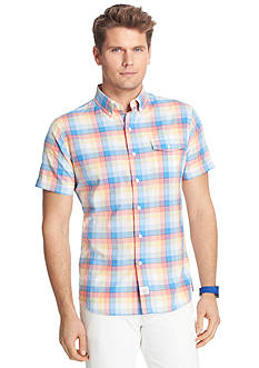 IZOD Short Sleeve Large Plaid Button-Down