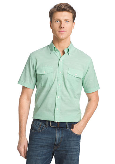 Izod short sleeve solid chambray button down shirt for Izod button down shirts