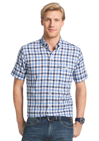 Izod short sleeve dockside chambray button down shirt for Izod button down shirts