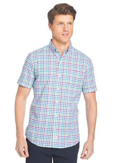 Izod short sleeve chambray multi gingham button down shirt for Izod button down shirts