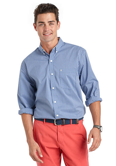 Izod long sleeve gingham woven button down shirt belk for Izod button down shirts
