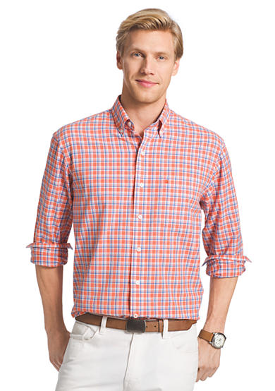 Izod long sleeve poplin button down shirt for Izod button down shirts