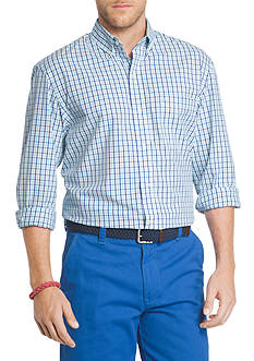 IZOD Essential Long Sleeve Button Down Tattersall Shirt