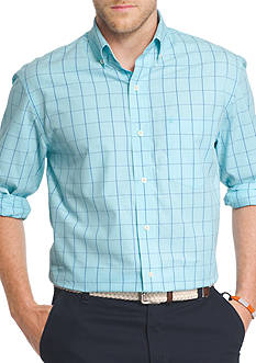 IZOD Essential Long Sleeve Windowpane Button Down Shirt