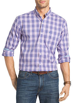 IZOD Advantage Stretch Non-Iron Tonal Plaid Shirt