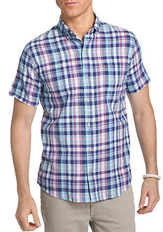 IZOD Short Sleeve Plaid Shirt