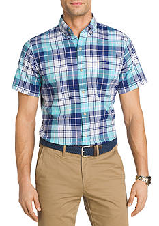 IZOD Short Sleeve Plaid Chambray Shirt