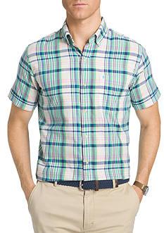 IZOD Short Sleeve Chambray Plaid Shirt