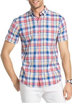 IZOD Short Sleeve Plaid Shirt