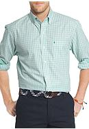 IZOD Essential Poplin Mini Check Button Front