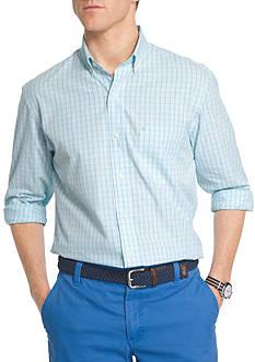 IZOD Essential Poplin Mini Check Button Front Shirt
